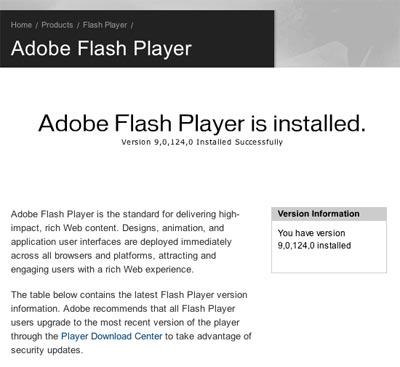 Adobe says Flash 9 is installed