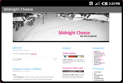 Android Browser Screen with Midnight Cheese