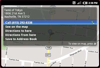 Android Maps with Address Screen