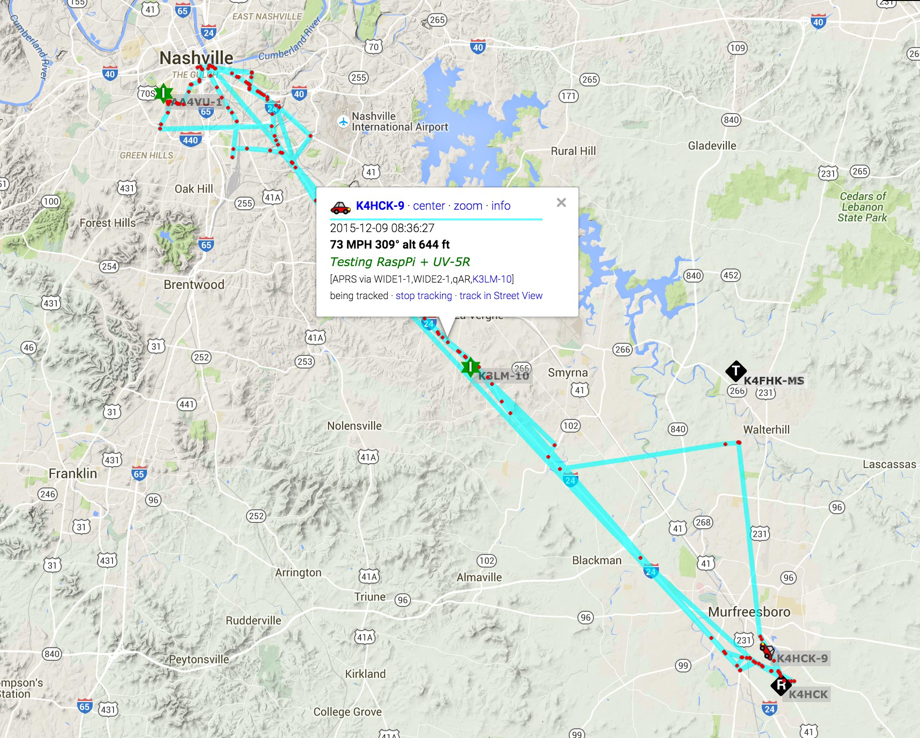 APRS position track