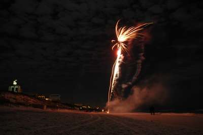 New Year's on the beach with fireworks at Seaside, FL