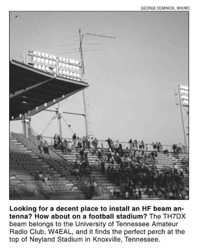 Old HF antenna on top of Neyland Stadium in the year 2000