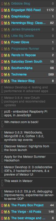 Ocular RSS feed list
