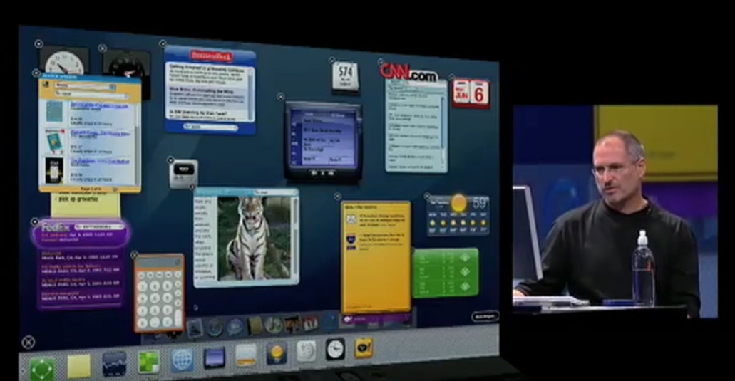 Steve Jobs and Apple Dashboard at WWDC 2005