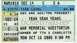 Yeah Yeah Yeahs Ticket
